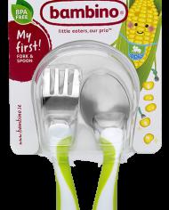 Barnbestick grön – sked och gaffel