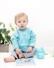 Bambino-långärmad-haklapp_sleeved_bib_turquoise